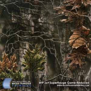 SuperFlauge Game™ Reduced Water Transfer Printing film is a dynamic forest and leaf motif brought to you by Lynch™. This woodland camouflage was designed with both hand painted and digital imagery to provide ultimate forest concealment.