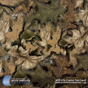 Tan Leaf Camo Water Transfer Printing film features an all-leaf design and is optimized for fall hunting seasons.