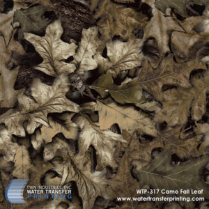 Fall Leaf Camo features a leaf camouflage Water Transfer Printing film with dark brown tones. It is designed specifically for Fall hunting seasons when vegetation begins to brown before Winter.