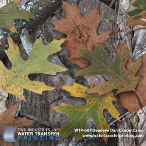 Deadeye Dan Camo features colorful oak leaves over moss covered tree branches. The range of colors within the pattern allow for concealment in the woods during any season
