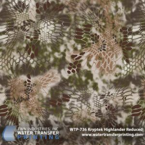 Kryptek® Highlander Reduced features the same coloration and design as the original Kryptek® Highlander Water Transfer Printing film. The pattern is specifically designed to perform in varied elevations. Kryptek Highlander Reduced is 25% the size of full scale Kryptek® patterns. This reduction in scale allows for the processing of smaller parts and ensures every little detail is retained during the decoration process.