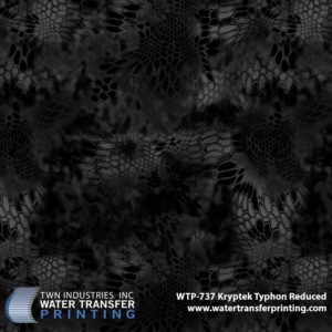 Kryptek Typhon® Reduced is identical to its larger counterpart Kryptek Typhon®. This dark camouflage is optimized for urban concealment in low-light situations. Typhon® Reduced hydrographic film is 25% of full size Kryptek® patterns. This reduction in size allows for a more defined transfer onto smaller profile parts like handguns, rifle, knives, and more.