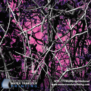 Muddy Girl® Reduced hydrographic film goes far beyond the single shade of pink that is commonly seen with most women's patterns. Many vivid shades of pink and purple are combined with rich black wooded elements to create a vibrant women's camouflage that stands out. The overall size is 35 percent of the original Muddy Girl® design.
