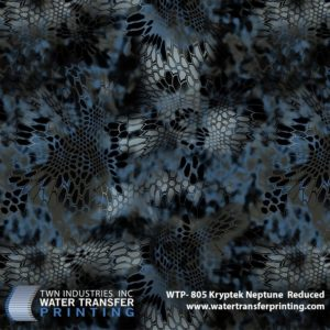 Kryptek® Neptune Reduced is a part of Kryptek's® revolutionary line of aquatic camouflages. Neptune features darker coloration which allows it to perform in lower light conditions during stealth operations. Neptune Reduced hydrographic film is 25% of full size Kryptek® patterns.