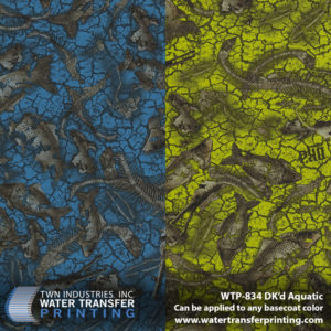 Dk'd Aquatic hydrographic film is designed with spiny fish skeletons artfully scattered across a dry, cracked riverbed. This Water Transfer Printing film features a transparent background which means you can customize different basecoat colors and even layer other films if you're feeling creative.