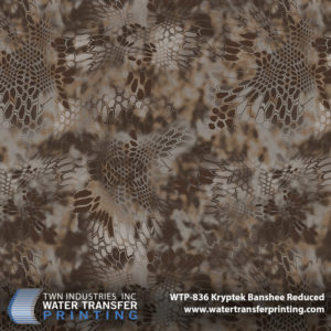 Kryptek® Banshee Reduced is made up of dark browns and hazy shadows. It has been tested extensively and has proven to be extremely effective in hardwood, tree-stand hunting applications during the fall/winter foliage cycle. The film is 25% of the size of Kryptek® Banshee. This reduced version will enable you to decorate smaller profile parts in greater detail like bows, optics, rifles, and more.