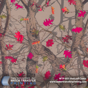 Hotleaf is a women's camouflage that features earth-tone, photographic elements. The background is offset by an assortment of bright colored leaves to appeal to the female audience without detracting from technical credibility.