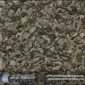 Desolve® Wing hydrographic film is a digital camouflage that is specifically optimized for hunting waterfowl. The coloration and high contrast allows you to disappear while hunting waterfowl in a field of reeds and grasses.