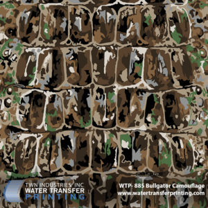 """BullGator hydrographic film resembles the superior camouflage mechanisms of the American Alligator. The """"earth toned"""" color scheme features mostly tans and browns with a touch of grey and green."""