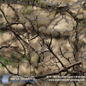 Go Wild I-M Brush® hydrographic film features a multi-layer/multi-tier algorithmic design that is suited for hunting in the brush country of central Texas, or the high plains of Wyoming, Montana, and the Dakotas.