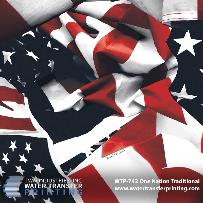 One Nation Traditional™ is our most popular American flag Water Transfer Printing film. With its bold red, white, and blue, it stands as a true symbol of this nation's core values and is sure to make your products stand out. Best used on larger items.